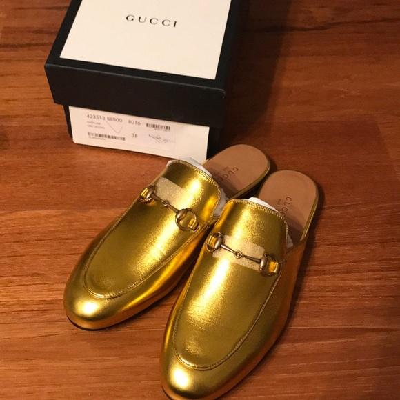 9b7af864eb21 Gucci Gold Metallic Princetown Mules Sz 38